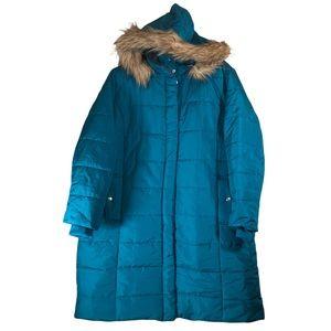 Roamans 1X 22/24 Coat Turquoise Puffer Below Knee Jacket Faux Fur Hoodie